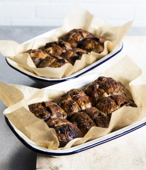 BakerBleu's hot cross buns withsour cherry and dark chocolate.