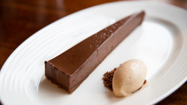 Chocolate tart, with Armagnac prune ice-cream.