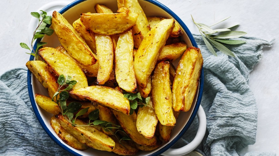 Greek-style roast potatoes with lemon and oregano.
