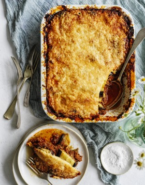 RecipeTin Eats' moussaka is made with leftover shredded lamb.