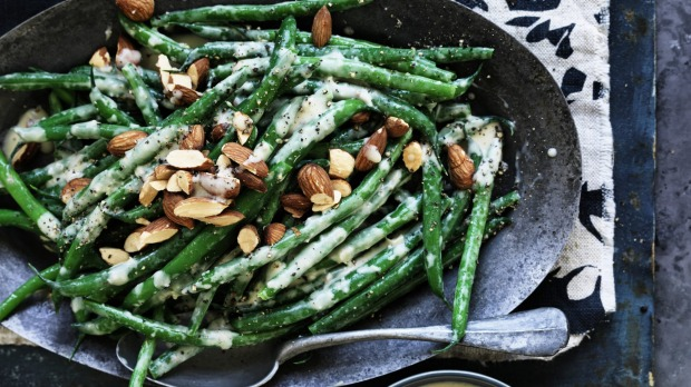 Recipe - Green Beans Creamy anchovy , chilli& Lemon dressing Photograph by William Meppem Styling by Hannah Meppem Green beans with creamy anchovy, chilli and lemon dressing and almonds Neil Perry William Meppem