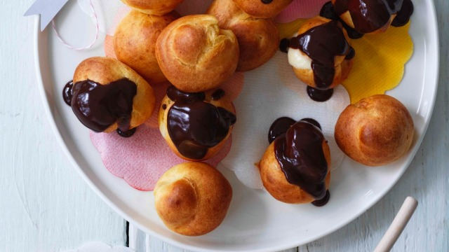 These cream puffs swap pastry cream for a white-chocolate filling.