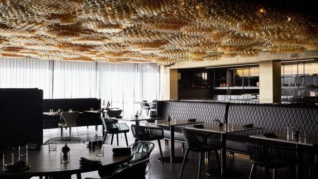The dining room at Doot Doot Doot features a striking ceiling art installation, Fermentation.