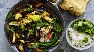 Hot, sour and briny: Thai -style mussel curry.