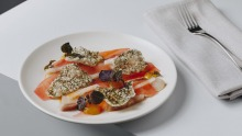 Industry Beans' Chadstone menu includes 12-hour cured kingfish with seaweed crisp and compressed papaya.