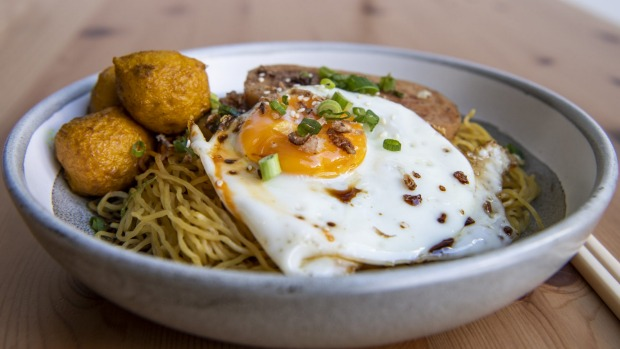 Spam-fried egg, curry fish ball egg noodle with oyster sauce.
