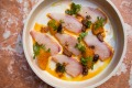 King fish sashimi, Moroccan orange harissa and black olives at Shaffa.