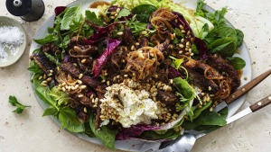 Italian-ish beef salad with balsamic dressing and ricotta.
