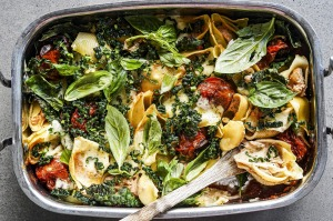 Spicy shells with ricotta and kale.