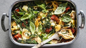 There's no need to individually fill the shells in this rustic pasta bake.