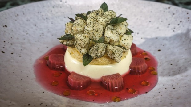 Spiced lemon bavarois with poached rhubarb and mint.