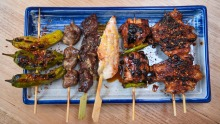 Assorted yakitori skewers at Benchwarmer.