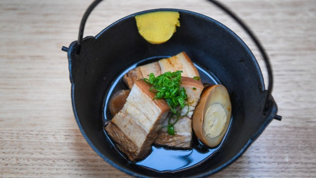 Sake and soy raised pork belly and turnips with super-hot mustard.