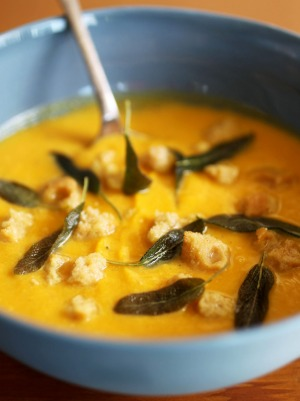 Pumpkin soup with amaretto biscuits.
