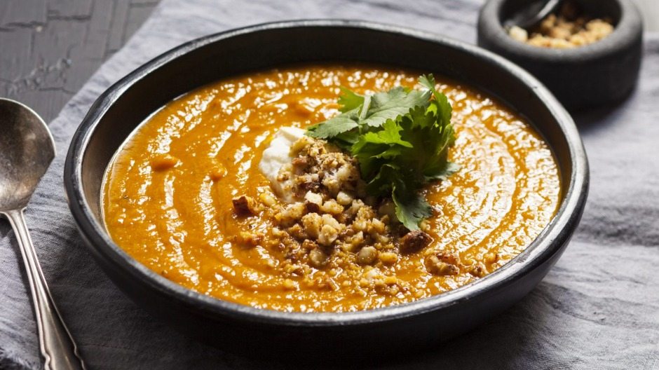 Curried roasted pumpkin soup with tamari nuts.
