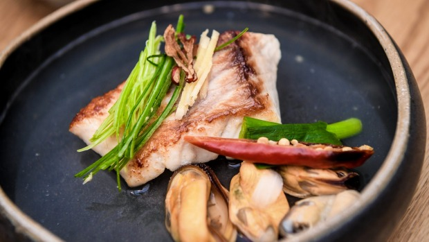 Snapper marinated in rice wine served with mussels and wasabi-spiked soy.