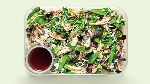 Japanese chicken and rice salad with ginger soy dressing ExtractfromThe 5-Minute,5-IngredientLunchboxby Alexander Hart, published by Smith Street Books Single use only, do not republish without permission Photographer:Chris Middleton Supplied bySmith Street Books