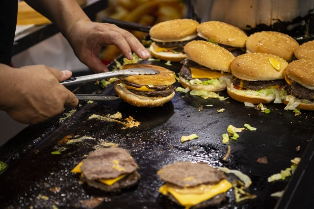 Camel burgers on the grill.