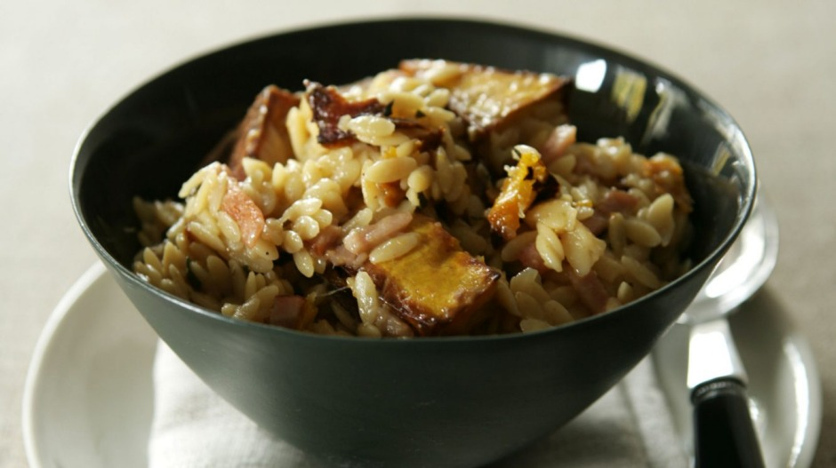 Risoni with roast pumpkin and bacon.