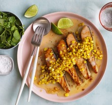 Salmon with buttered garlic corn.