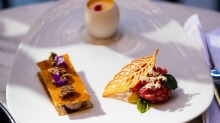 Cicchetti with beef tartare, eel mousse and egg with pecorino foam.