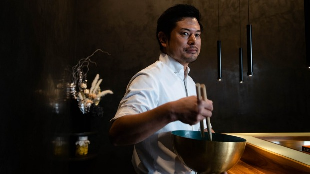 """""""We make the food in front of the customer, so what they see is like a tempura show,"""" says Haco head chef Kensuke Yada."""