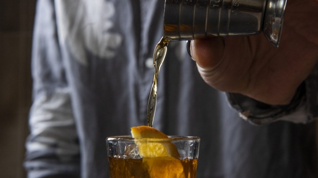 Amaro poured over ice and served with a wedge of orange at  Ragazzi.