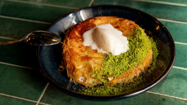 Knafeh with goat's cheese, pistachio and labne ice-cream.