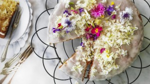 Edible flowers take this cake from simple to special.