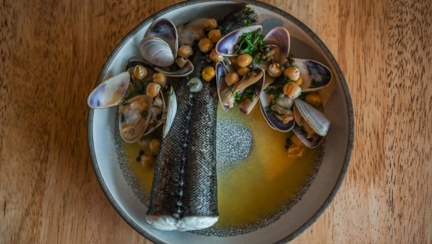 Flathead tail, pipis and chickpeas.