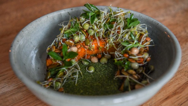Pumpkin with sprouted seeds.