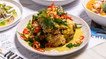 A favourite to cook at home or to eat at work: Chin Chin roasted cauliflower with curry-spiced coconut cream.