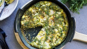 This frittata is packed full of fresh herbs and soft feta.