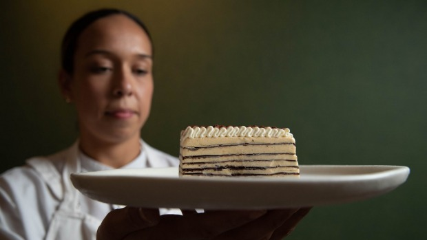Pastry Chef Elodie Marion with her version of the Viennetta at Mimi's in Coogee.