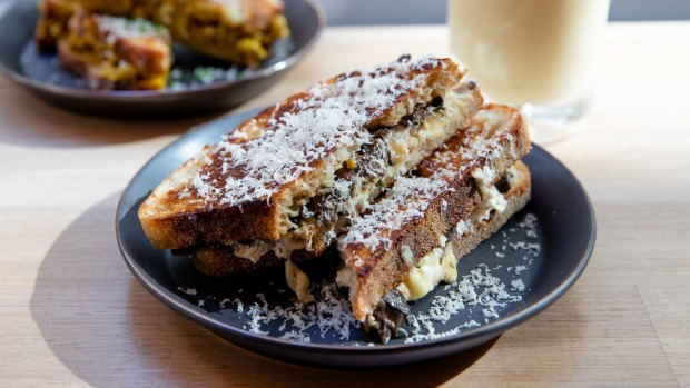 The mushroom and leek toastie is flavoured with miso and three kinds of cheese.