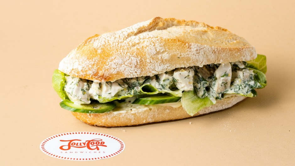 Poached chicken with butter lettuce, herbs and citrus mayo at Jolly Good Sandwiches.