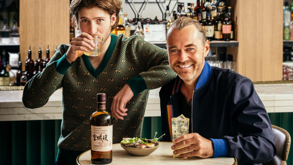 Vue de Monde's Hugh Allen (left) with Shannon Bennett sampling whisky and matching dishes ahead of the Lui Bar event.
