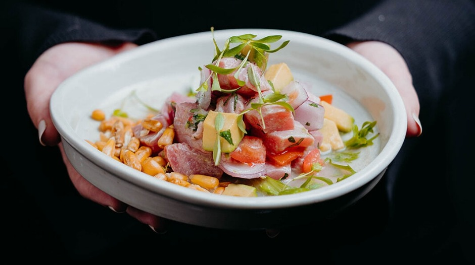 Ekeko serves six kinds of ceviche, including one with cured yellowfin tuna in leche de tigre with tomato, onion and ...