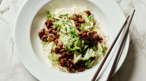 Beijing-style noodles with minced pork and brown bean sauce.