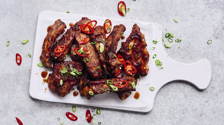 Contrasting flavours: Sticky pork ribs mean sticky fingers.