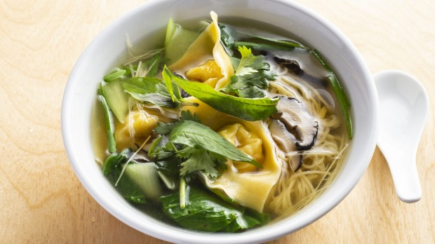 Prawn wonton and long noodle soup with Palisa Anderson's Asian herbs.