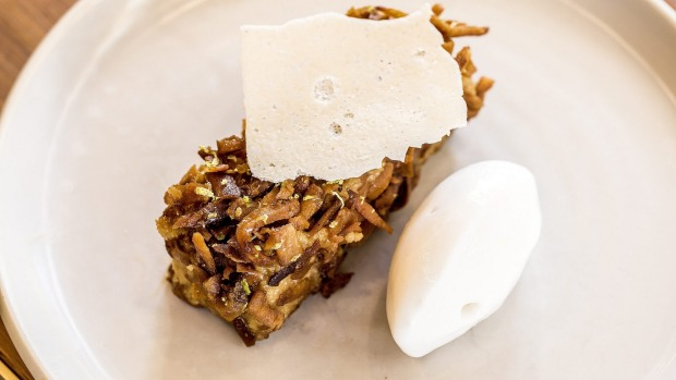 Soaked coconut cake with caramelised milk custard and coconut gelato.