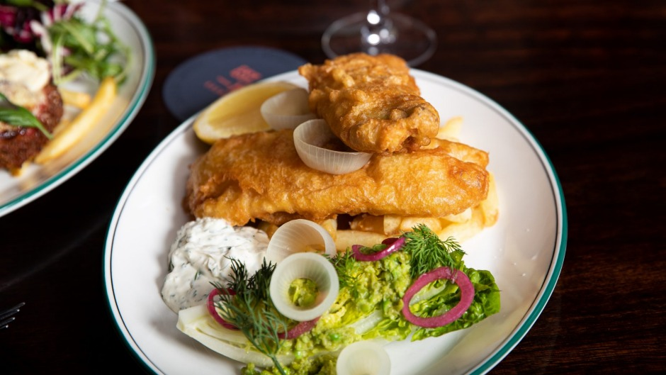 Fish and chips with yoghurt tartare and malt-pickled onions at the Sarah Sands, Brunswick.