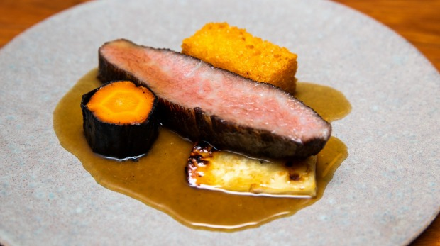 Ranger's Valley wagyu rib cap with wagyu-fat hash brown and salt-baked celeriac.