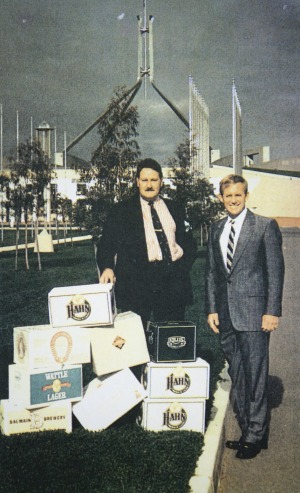 Lord Nelson brewer Blair Hayden and Chuck Hahn representing small brewers outside Parliament House in the early 90s.