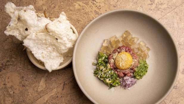 Beef tartare with pho jelly and anchovy and tapioca crisps.