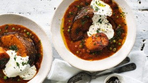 This tomato and pea sauce is very versatile.