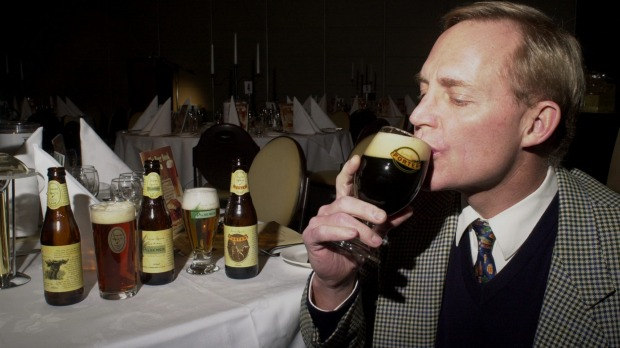 Hahn sips a James Squire porter in 2000, on a mission to get more Australians pairing beer with food.