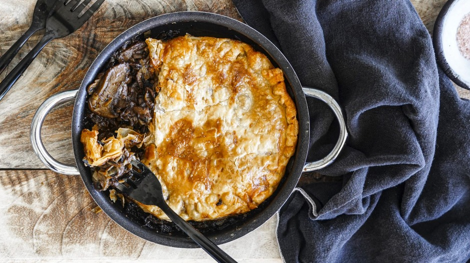 Make these mushroom stroganoff pot pies in any ovenproof dish you like.