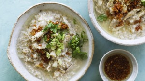 Pick up a supermarket roast chicken for this comforting congee.
